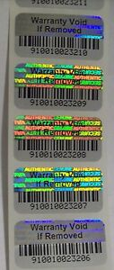 500 Warranty Void Barcode Security Hologram Tamper Evident Label Stickers Seals