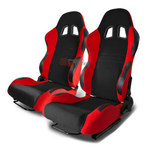 Type 7 Pair Black And Red Woven Fabric Full Reclinable Racing Seats Pair Sliders