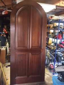 Solid Wood Mahogany Arched Top 2 1 4 Thick Entry Door 42 X96 X2 1 4