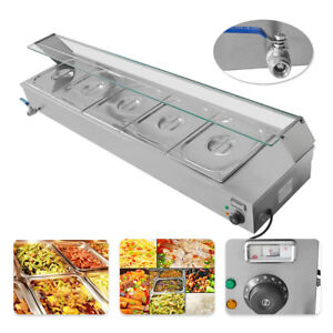 5 pan Steamer Bain marie Buffet Countertop Food Warmer Table Steam 110v 1500w
