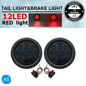 2x 12v 4 Smoked Lens Red 12led Round Tail Stop Brake Signal Light Car Trailer
