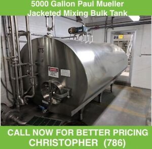 5000 Gallon Paul Mueller Jacketed Mixing Bulk Tank