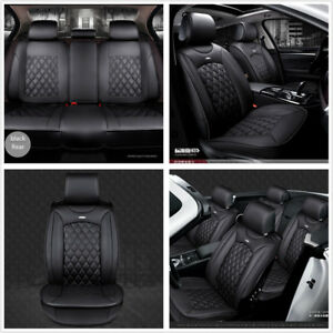 Deluxe Pu Leather Car Seat Cover Full Front Rear Seat Cushion 3d Surround Black
