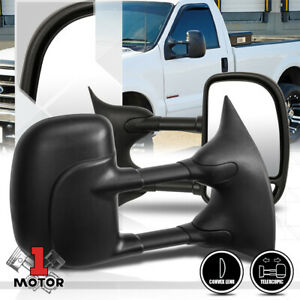 pair manual Telescoping Towing Side Mirror For 99 07 Ford F250 F350 Super Duty