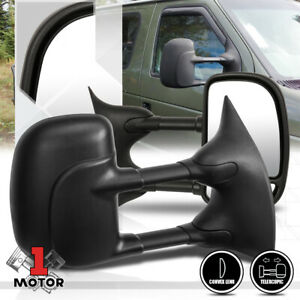 Pair Manual Telescoping Towing Side Mirror For 03 14 Ford E150 E250 Econoline
