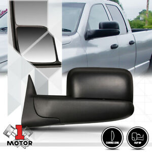 Left Driver Side Manual Flip Up Foldable Towing Mirror For 94 02 Dodge Ram 1500