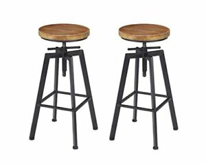 Height Adjustable Retro Finish Wood Anti Scratch Barstools Set Of 2