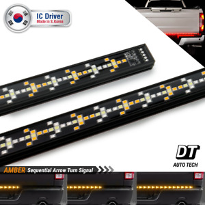 60 Triple Solid Led Tailgate Light Bar Sequential Amber Turn Signal Brake