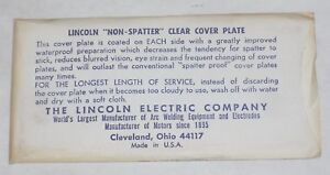 Lincoln Electric 2 X 4 1 4 Welding Helmet Cover Lens Clear Non spatter Usa Made