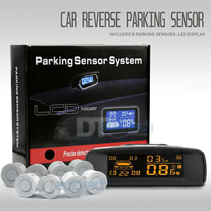 8 Parking Sensors Lcd Car Auto Backup Reverse Rear Radar System Alert Alarm Kit