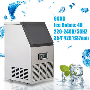 130lbs Commercial Ice Maker Cube Machines Stainless Steel Bar Restaurant 270w Us