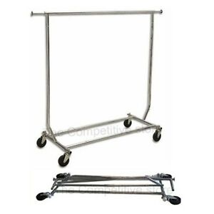 Collapsible folding Rolling Clothing Garment Rack Salesman s Rack New