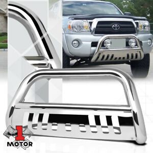 Chrome 3 Front Bumper Bull Push Bar Brush Grille Guard For 05 15 Toyota Tacoma