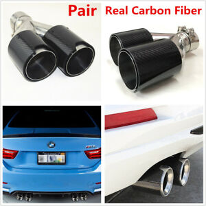 Universal Right Left Side Car Real Carbon Fiber Exhaust Dual Pipes Twin End Tips
