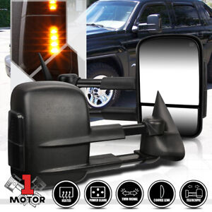 Pair Power Heated Telescoping Led Signal Towing Side Mirror For 99 02 Silverado