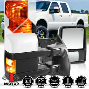 pair power heated Led Signal Towing Side Mirror For 99 07 Ford F350 Super Duty