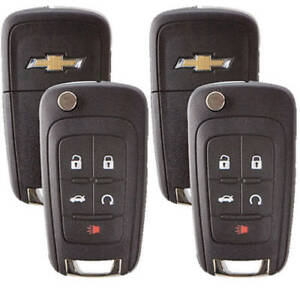 Set Of 2 Chevrolet Flip Remote Key 2010 2017 5 Buttons Chevy Logo Usa Seller A