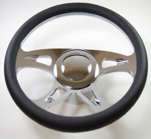 Hot Rod 14 Chrome Billet carousel Style Steering Wheel Package W leather Grip