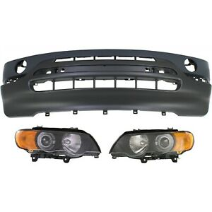 Bumper Cover Kit For 2000 2003 Bmw X5 Front 3pc With Headlight Washer Holes