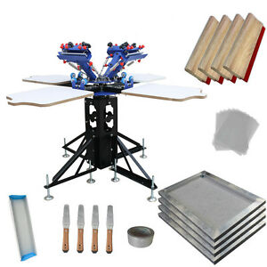 4 Color 4 Station Screen Printing Press Kit Bundle Tensioned Silk Sceen Frame