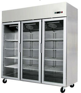 New 2018 Glass Front Triple 3 Door Freezer Merchandiser W Stainless Trim Led