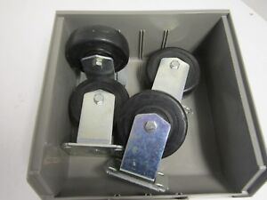 Lot Of 4 Wagner 4 X 1 1 4 Wheel Rigid 2 3 4 X 3 3 4 Plate Casters New