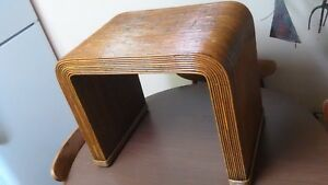Midcentury Modern Pencil Reed Bamboo Milo Baughman Era Vanity Bench Table Settee