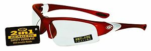 Ssp Eyewear 2 00 Bifocal reader Safety Glasses With Red Frames And Clear Lenses
