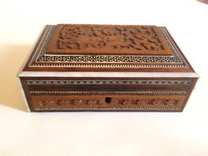 Antique Indian Wooden Box Micro Mosaic And Carved
