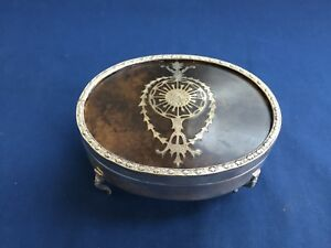 Vintage Silver Plate Jewelry Trinket Box With Faux Tortoise Shell Lid