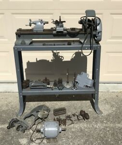 Working Atlas 618 Metal Lathe W Stand Attachments Motor Collets Chucks More