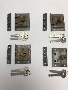 Lot Of 4 Antique Corbin Cylinder Lock And Key With Plates 10