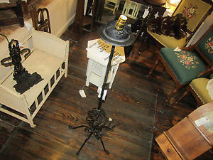 Antique Arts Crafts Iron Floor Lamp W2453 Stickley Era