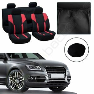 Red Black Polyester Elastic Car Seat Covers W Headrest Cover For Porsche