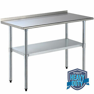 24 X 48 Stainless Steel Work Prep Table Food W backsplash Restaurant Kitchen