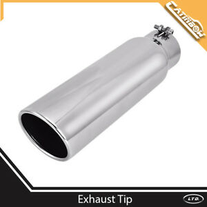 Stainless Steel Exhaust Tip Angle Cut 3 Inlet 4 Outlet 15 Long