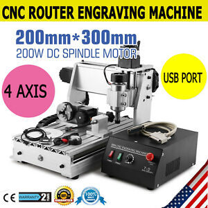3020 4 Axis Cnc Router Engraving Machine T screw Usb Port Milling Engraver