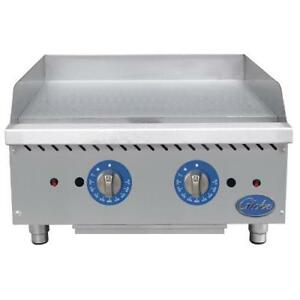 Globe Gg24tg 24 Thermostatic Gas Griddle Flat Top Grill