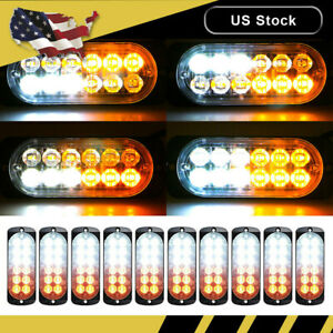 10x Amber White Car 12 Led Emergency Beacon Flash Warning Strobe Light Kit Bar