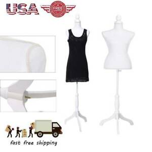 White Female Mannequin Torso Dress Form Display W Whitetripod Stand Clothes