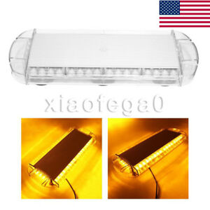 40 Led Emergency Strobe Light Bar Lamp For Car Plow Tow Truck Roof Top Amber Usa