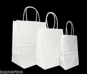 Mixed Small Sizes White Paper Retail Gift Rope Handle Tote Shopping Bags