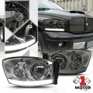 Smoke Tinted Headlight Led Drl Clear Signal For 06 09 Dodge Ram 1500 2500 3500