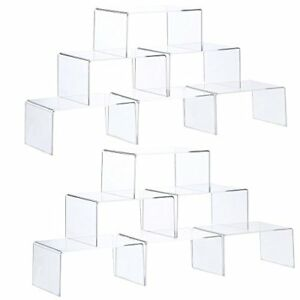 Ihomecooker 12 Pack Clear Acrylic Display Risers Showcase For Jewelry Funko Pop