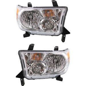 Headlight Set For 2009 2013 Toyota Tundra Left And Right With Bulb 2pc