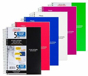 Five Star Spiral Notebook College Ruled 5 Subject 6 X 9 5 Inches 180 New