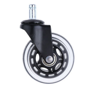 5 Pcs Swivel Plate Pu Caster Wheels Replacement For Carts 3 Inch