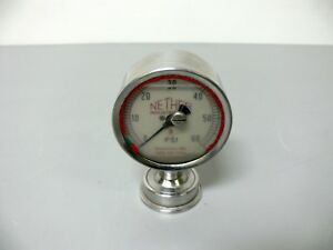 Nether Industries 60 Psi Liquid Filled Sanitary Pressure Gauge 2 5 Tri clamp
