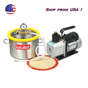 3 7 Gallon Stainless Steel Vacuum Degassing Chamber Kit 3cfm Pump From Usa