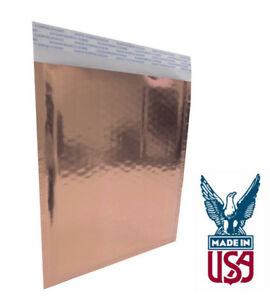Size 000 4 25 x7 Metallic Rose Gold Foil Metalized Bubble Mailer Glamour